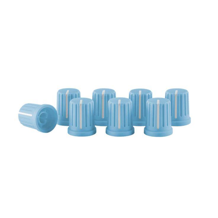 8 tapones de botón de color azul, ergonómicos, fácilmente intercambiables, compatible con todos los mezcladores y controladores disponibles actualmente.
