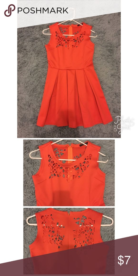 USED ONCE. Semi Formal Red Orange Dress Very unique color, style and cut out details (used in a very important occasion) Dresses Mini