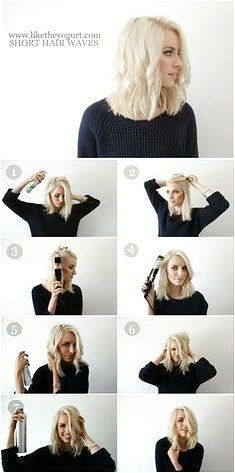 How To Style - Easy Wavy Hair Tutorial for Medium Hair - click on the image or link for more details.