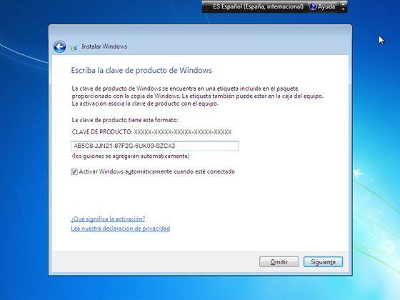 Instalar Windows 7: Escribe la clave de producto de Windows 7
