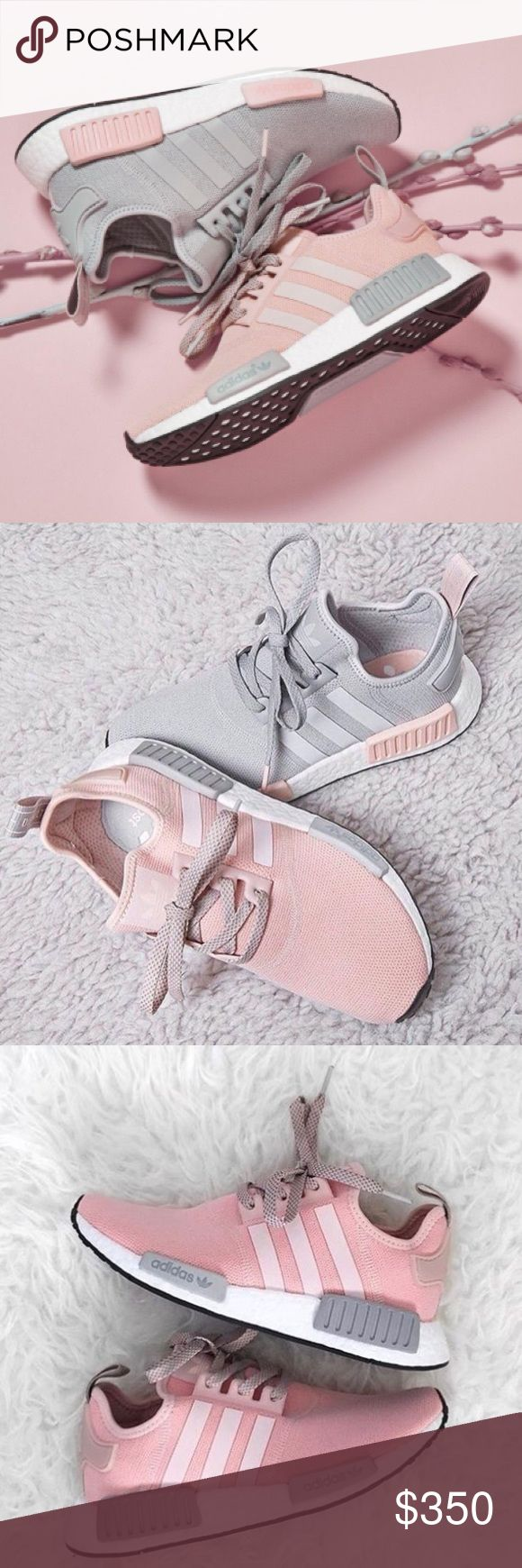 New Adidas NMD R1 Vapour Pink NO TRADES•••• New Women Adidas NMD. Featherweight sneakers with the adidas boost cushioning. Upper is made of suede and neoprene which makes these. Also have EVA foam plugs which provides more comfort for the underfoot. Have the classic 3 stripes.  Colorway : Vapour pink  #adidas #NMD #boost #women #yeezy White talc cream salmon pink Adidas Shoes Sneakers