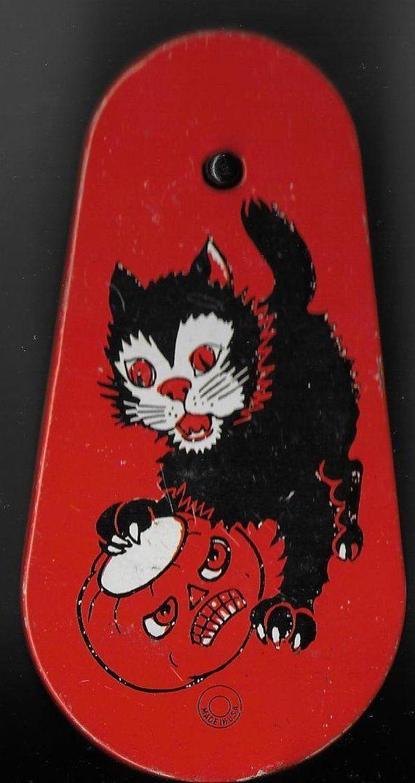 Vintage Halloween Decoration - Tin Noise Maker - Black Cat And - vintage halloween decorations
