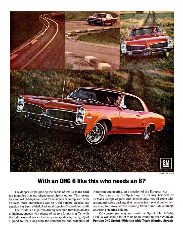 1967 Pontiac Lemans Sprint OHC 6 ad,  Who needs an 8? Version 2.