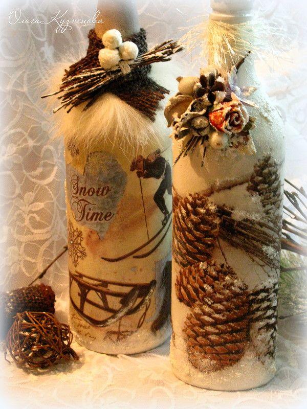 Декор, декупаж новогодних бутылок