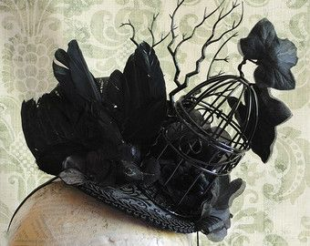 Gothic Headpiece with Miniature Flying Crow and Brirdcage