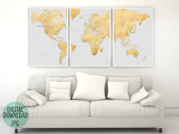 World map, highly detailed map. Printable large world map with cities. Grey & gold foil world map, 3 panels world map, large art. map151 026 #smallbusiness #etsyseller #handmade