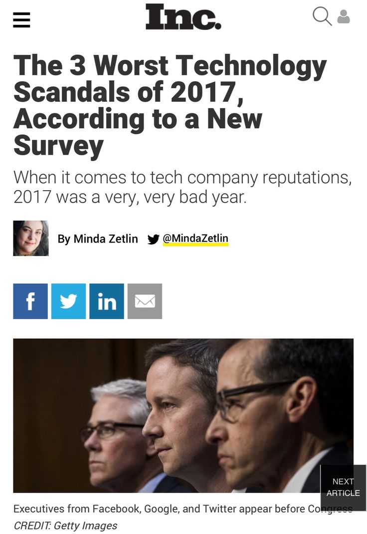 The 3 Worst Technology Scandals of 2017, According to a New Survey | Inc.com https://www.inc.com/minda-zetlin/the-3-worst-technology-scandals-of-2017-according-to-a-new-survey.html?cid=sf01001&sr_share=twitter&utm_campaign=crowdfire&utm_content=crowdfire&utm_medium=social&utm_source=pinterest #tech #business #culture #community #cybersecurity #technology
