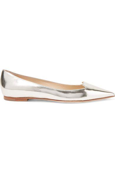 Jimmy Choo - Attila Mirrored-leather Point-toe Flats - Silver - IT37.5