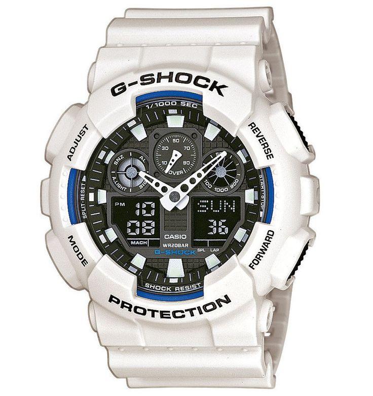 Casio G-SHOCK Horloge GA-100B-7AER. Horloge met een analoge en digitale tijdsaanduiding. Het horloge is voorzien van een kunststof witte kast, groen-blauwe accenten en de band is wit. Dit model heeft sterk mineraalglas en dag-, maand- en tijdsaanduiding. Auto LED-lampje. Met een licht draaiende beweging van de pols laat je de ledlampjes van het display oplichten. Dit type is, net als alle andere G-SCHOCKS schokbestendig.