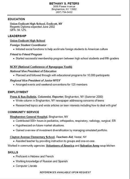 The 25+ best Student resume template ideas on Pinterest Cv - Resume Example For High School Students