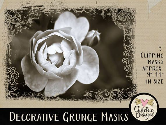 Photoshop Clipping Masks - 5 Decorative Grunge Photoshop Photography Masks - Digital Photo Masks by ClikchicDesign #photoshop #graphic #design by Clikchic Designs