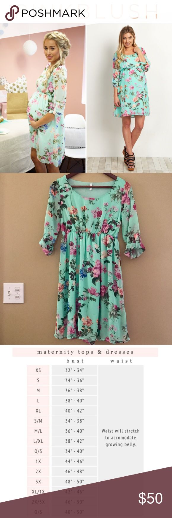 Pinkblush floral maternity dress A floral print chiffon maternity dress. 3/4 sleeves. Double lined to prevent sheerness. Cinched under bust. Rounded neckline.  35 inches from high point of shoulder to hem. Measured from Small. Color is mint green.   Worn once for an event, excellent condition! I am petite, 5 ft tall, wore dress size 4 prepregnancy and this size small fit perfectly! Pinkblush Dresses