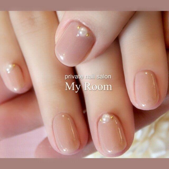 ネイル 画像 マイルーム My Room~private nail salon~ 品川 1336650 ワンカラー パール オフィス デート ソフトジェル ハンド