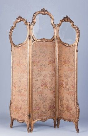 antique pink rose upholstered dressing screen ... a similar privacy screen was used in the movie Austenland, when Jane & Miss Charming changed from modern day clothing to Regency Era gowns