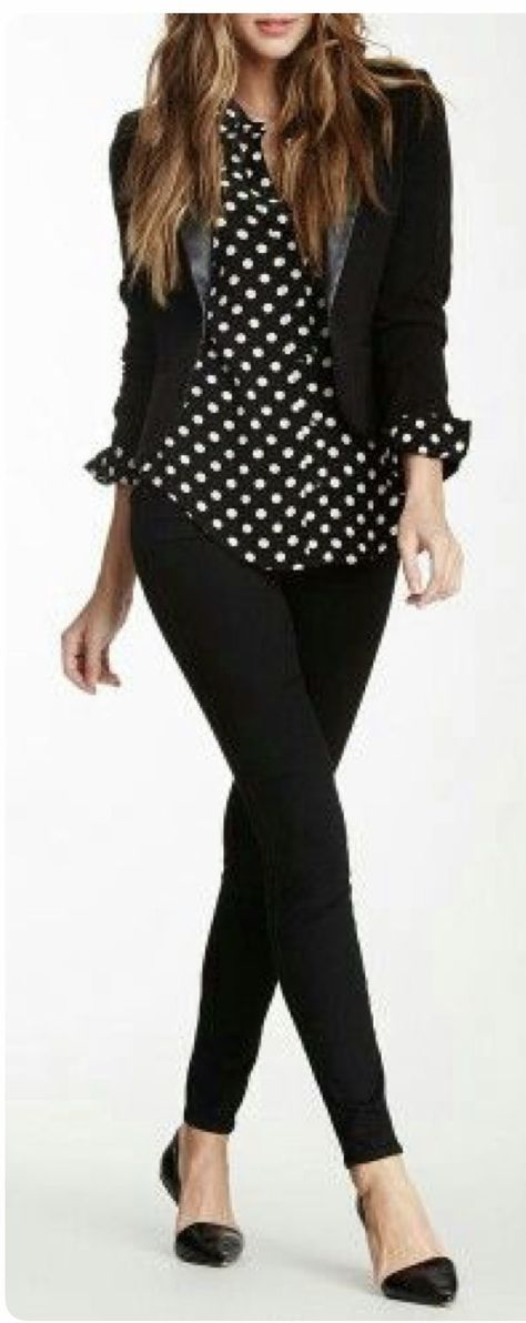 Stitch Fix Fashion 2017! Ask your stylist for something like this in your next fix, delivered right to your door! #sponsored #StitchFix  Black & White polka dot button up, blazer & black pants  work fashion