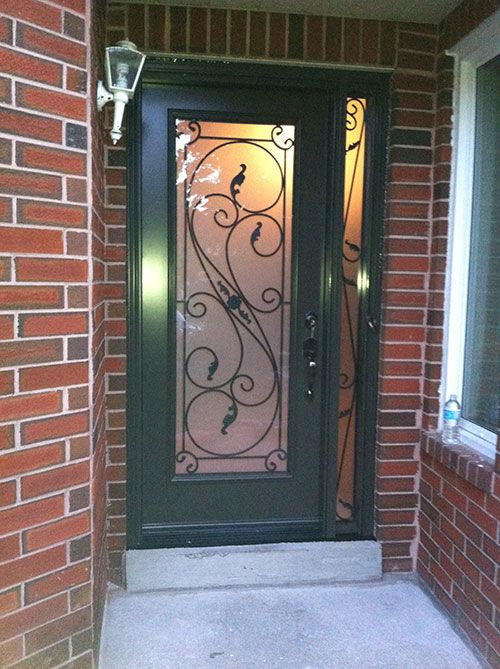 serafina-design-fiberglass-wrought-iron-single-frosted-glass-entrance-door-with-2-iron-arts-side-lites-installed-by-entrance-doors-toronto