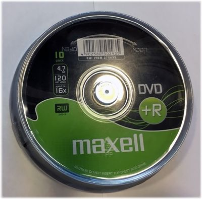 Maxell DVD+R, 1-16x, 4,7 GB/120 min, 10-pakkaus spindle