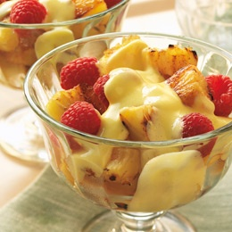 Grilled Pineapple with Raspberries and Rum Sabayon