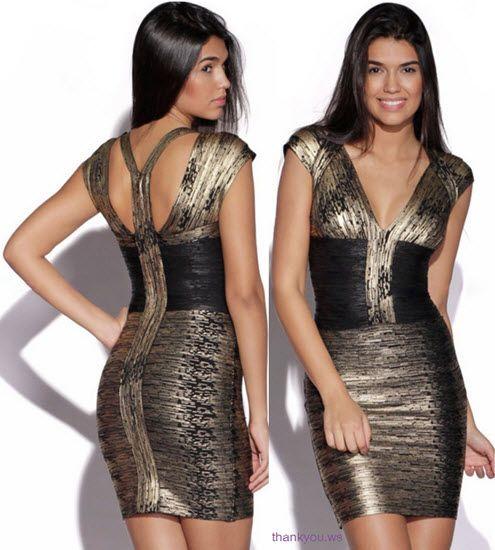 rochie bandage auriu cu negru