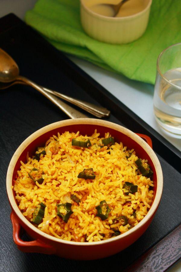 bhindi rice lunch recipe
