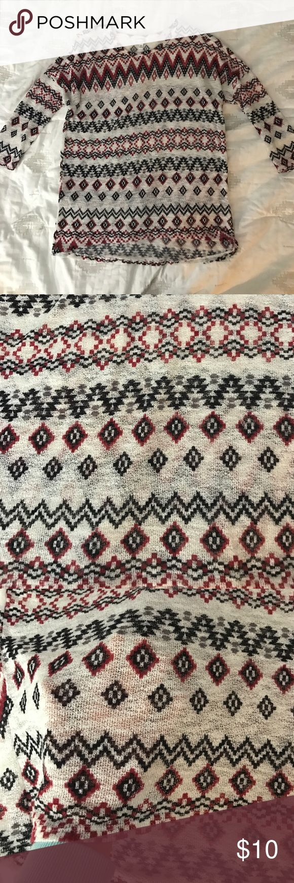 Aztec shirt Thin and airy material. fun Aztec pattern. A little bit longer in the back Charming Charlie Tops Tees - Long Sleeve