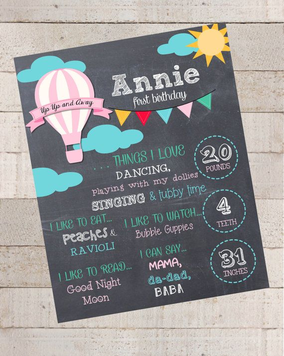 First Birthday Chalkboard- Custom First Birthday Sign-Hot Air Balloon- Chalkboard Stats--Custom Digital File--Birthday Party-Birthday on Etsy, $15.00