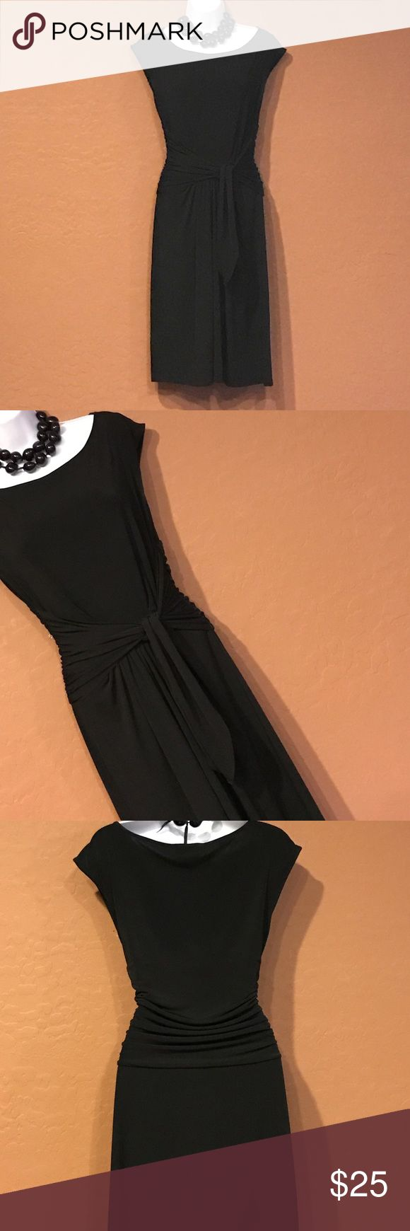 👗Max & Cleo Black Wrap Dress Excellent Condition, tie waist, short sleeve, stretch. Max & Cleo Dresses