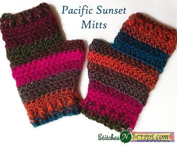 Pacific Sunset Mitts - a free crochet pattern on StitchesNScraps.com
