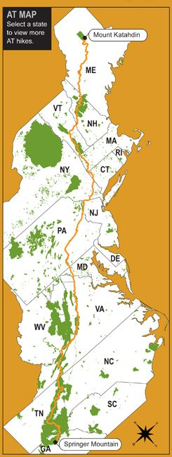 Appalachian Trail - Interactive Guide. Hike details, searchable by state. From Backpacker Magazine