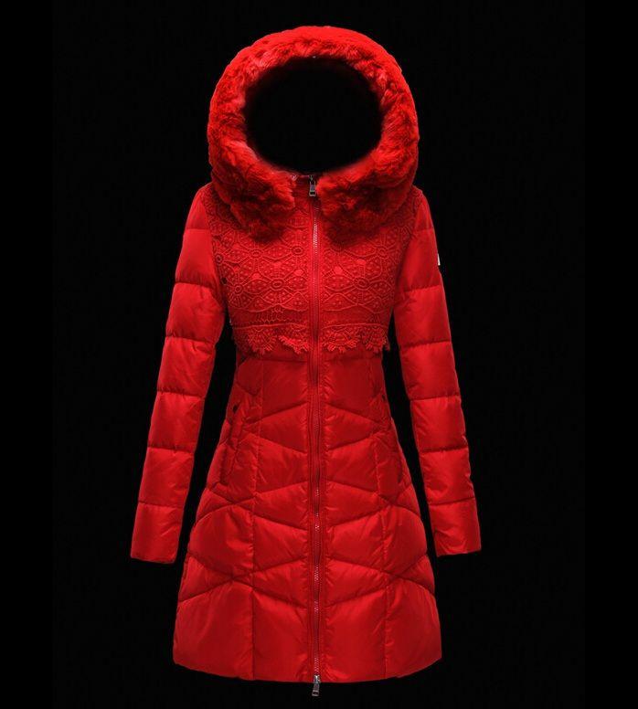 Nouveaux Moncler manteau long femme hiver capuche de fourrure ro