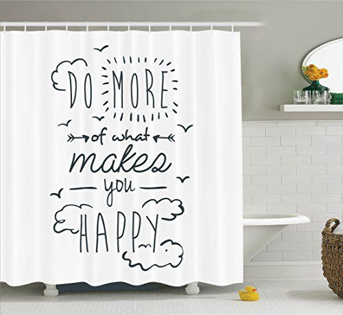 """Extra Long Shower Curtain Quotes Decor by Ambesonne, """"Do More of What Makes You Happy"""" Clouds Achievement Attitude Positivity Image, Fabric Bathroom Set with Hooks, 84 Inches, Black and White"""