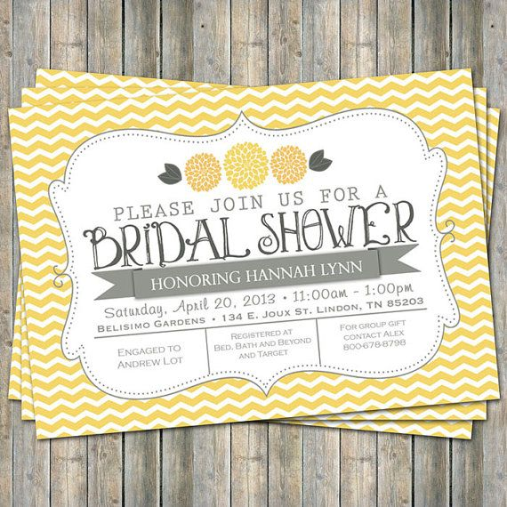 Yellow Chevron Bridal Shower invitation with flowers, yellow and gray,  printable, digital file on Etsy, $13.00