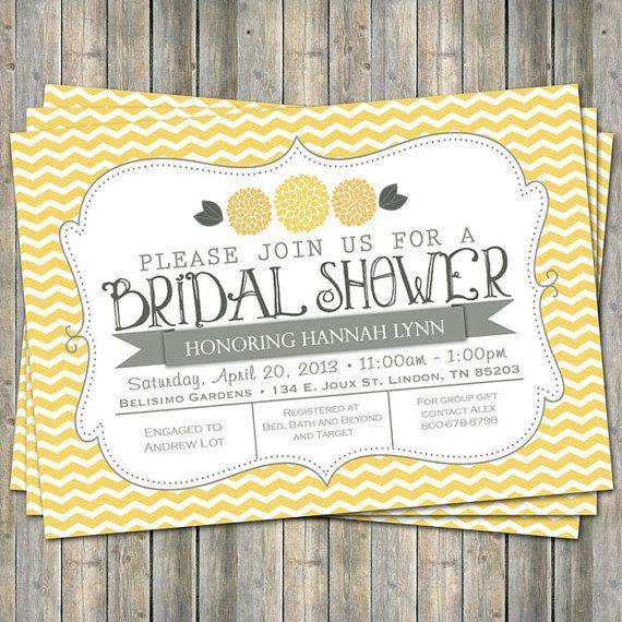 Yellow Chevron Bridal Shower invitation by freshlysqueezedcards, $13.00