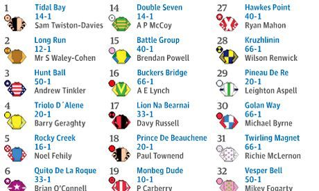 Grand National 2014: print-out guide to the runners and riders