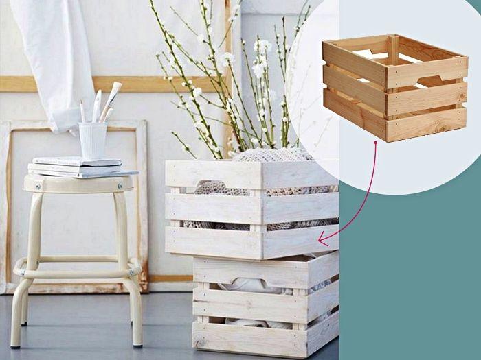 1001 Idees Pour Detourner Une Caisse En Bois Ikea Caisse Bois Ikea Caisse Rangement