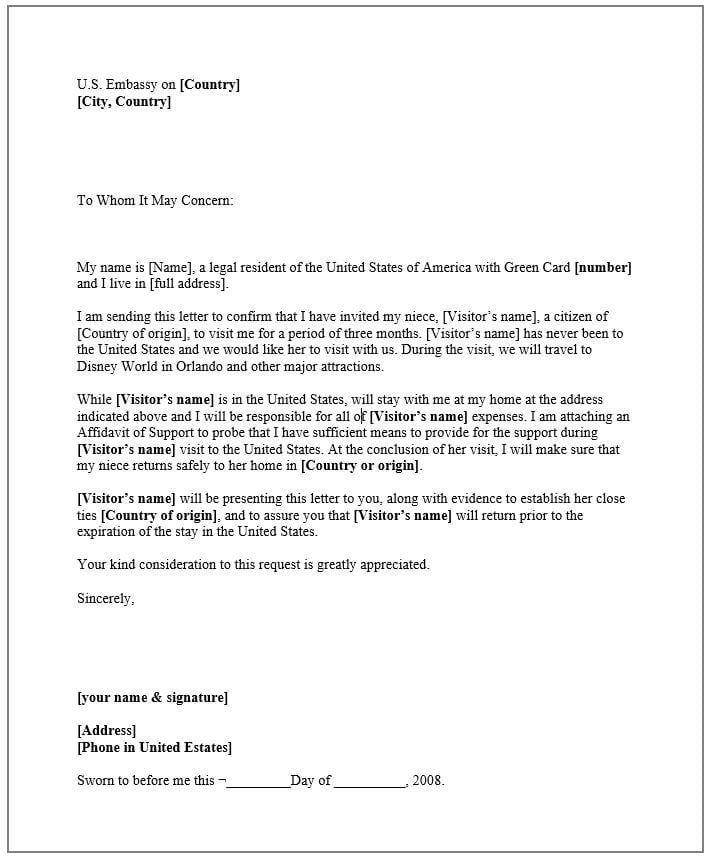 carta de invitaci u00f3n para visa americana hecha por familiar