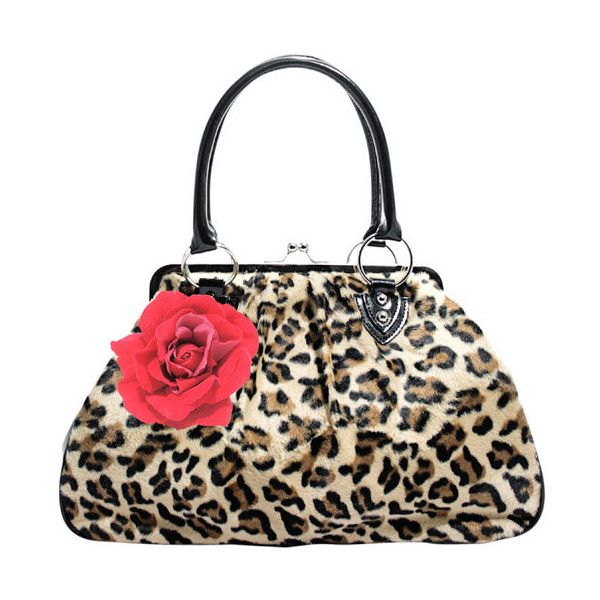 Lux De Ville Kiss Lock Leopard Print with Red Rose Handbag (71 CAD) found on Polyvore