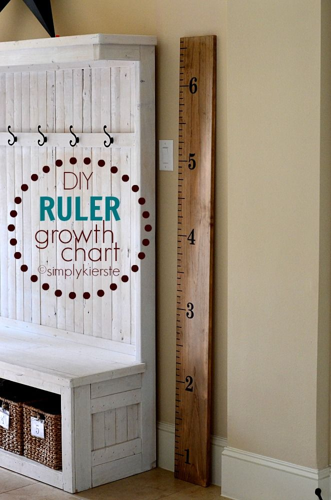 Easy and adorable DIY Ruler Growth Chart! I planned this project for a Super Saturday (craft group), and it's perfect for large groups, or on your own. They make GREAT gifts!!! #simplykierste #rulergrowthchart #growthchart #woodprojects #diy