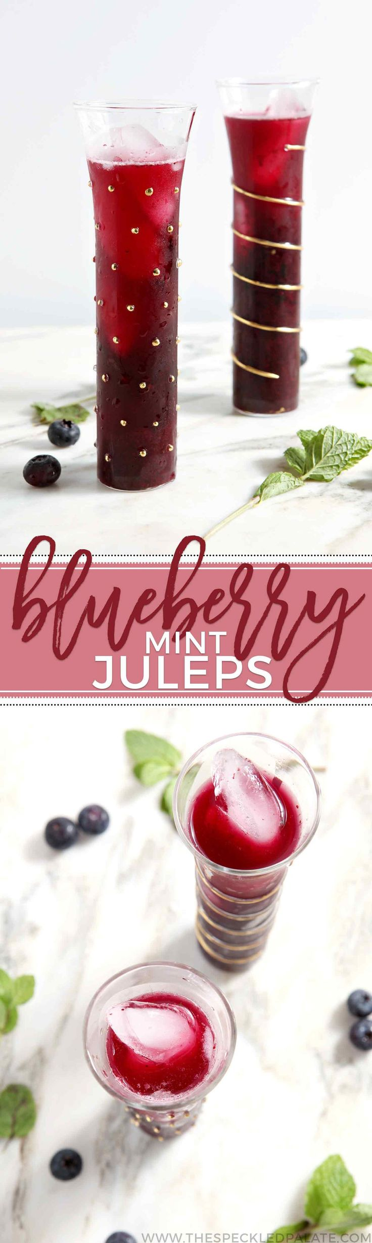 Celebrate Kentucky Derby Week by whipping up homemade Blueberry Mint Juleps, a summery twist on the Churchill Downs traditional cocktail!