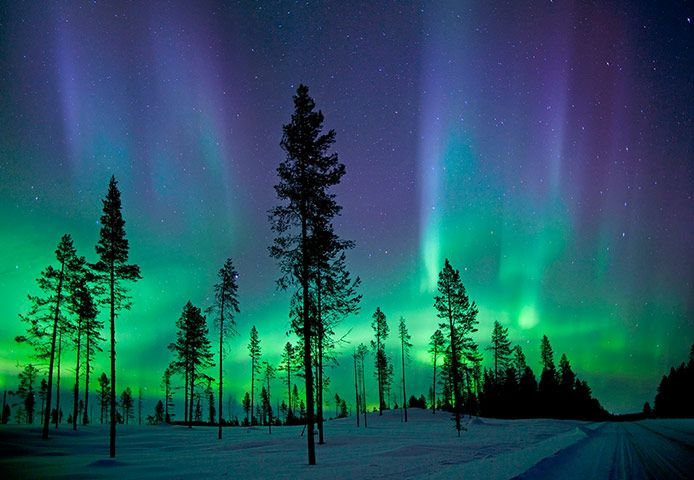 The aurora borealis – Kiruna, Sweden When charged particles, which flow from the sun at 1.4m kph, hit the Earth's magnetic field at the planet's poles, they create curtains of light. Solar storms heighten the effect