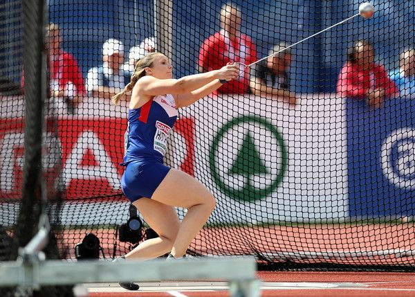 Sophie Hitchon of Great Britain in action during qualifying for the waomen's hammer on day one of The 23rd European Athletics Championships at Olympic Stadium on July 6, 2016 in Amsterdam, Netherlands.