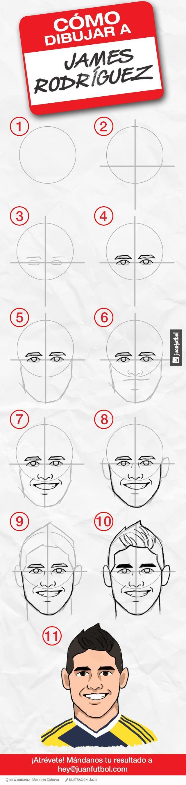 Tutorial de cómo dibujar a james rodríguez