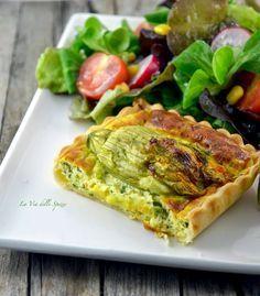 la via delle spezie - Torta salata con zucchine e fiori di zucca ripieni