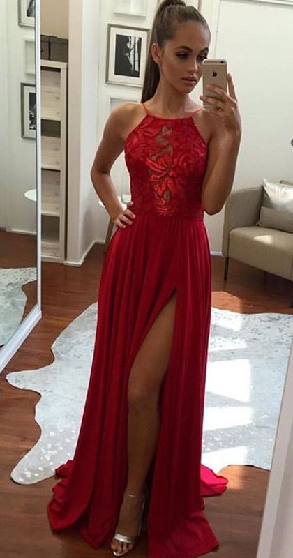 Prom Dress,Unique Prom Gown,A-Line Halter Prom Dress,Sexy Split-Front Evening Dress,Red Chiffon Prom Dresses 2017,Long Prom/Evening Dress,Long Prom Dress,Graduation Dress