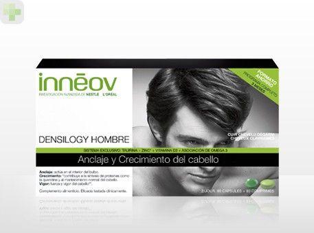 Inneov Densilogy Hombre es un complemento alimenticio y nutricional que en 3 meses tiene resultados probados en el crecimiento del cabello y uñas. http://www.descuentosparafarmacia.es/inneov-densilogy-hombre-programa-trimestral-anclaje-y-crecimiento-del-cabello-90-caps-90-comp.html
