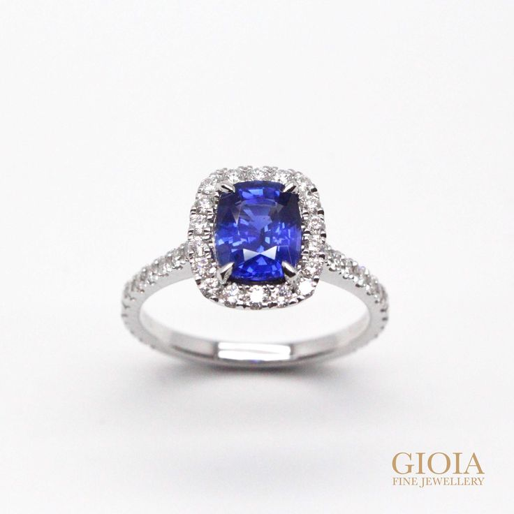 Natural unheated blue sapphire, customized to timeless halo diamond ring Exceptional blue and vibrant in the gemstone, fine finishes with round brilliance in the diamonds setting. Precious unheated blue sapphire, with excellent vivid colour shade, clarity and cut.  Making an ideal choice for engagement ring or heirloom jewellery for generation and centuries.