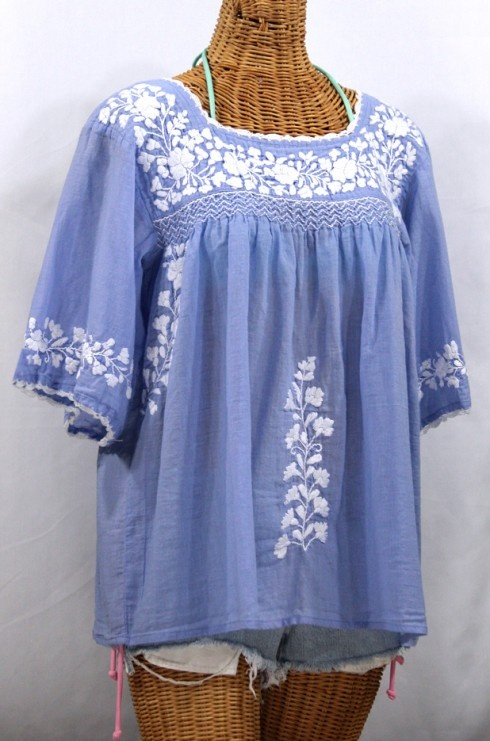 "So beautiful! ""La Marina"" Mexican Peasant Blouse in Perwinkle with White Embroidery, $52.95."