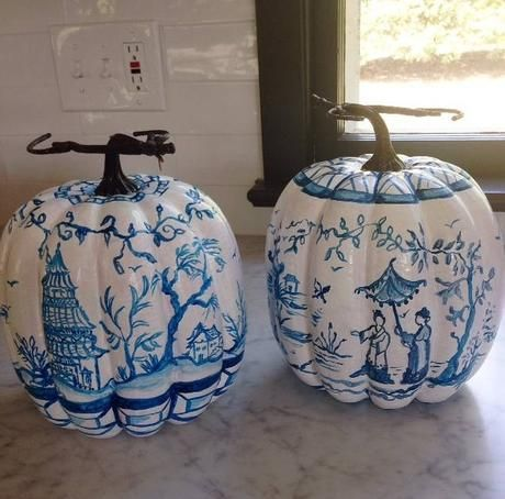 Chinoiserie Blue and white pumpkins