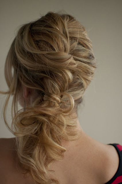 messy, twisted, side ponytail...