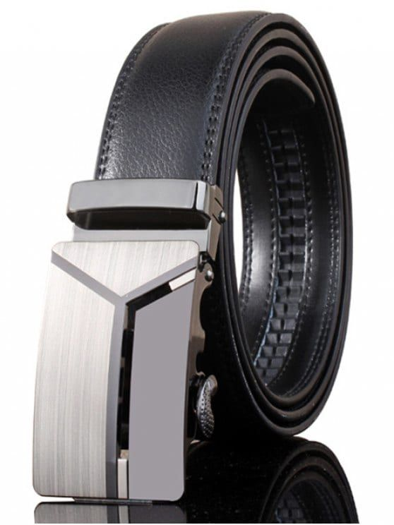 Stylish Polished 3D Y Shape Automatic Buckle Wide Belt - DEEP GRAY
